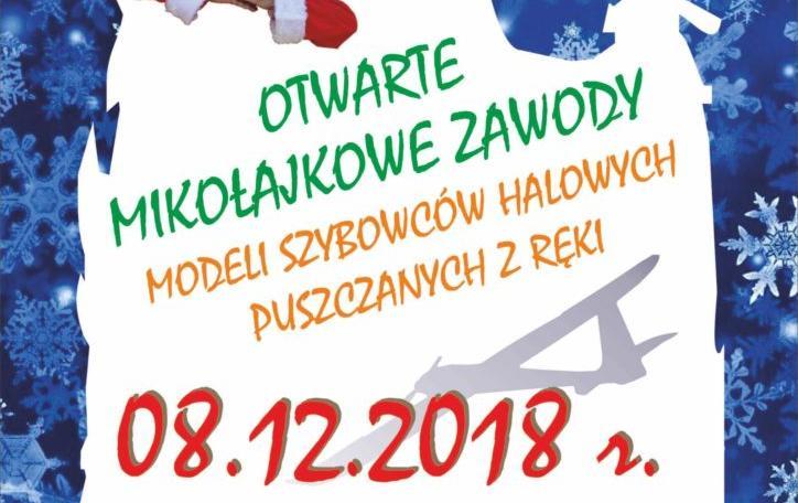 Plakat Otwartych Mikołajkowych Zawodów Modeli Szybowców Halowych